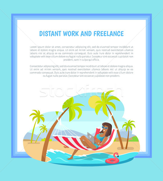 Distant Work and Freelance Web Poster Woman Lying Stock photo © robuart