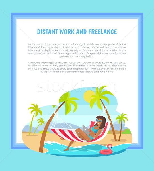 Afgelegen werk freelance web poster vrouw Stockfoto © robuart