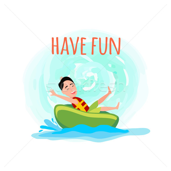 Have Fun Poster with Boy Riding on Donut Amusement Stock photo © robuart