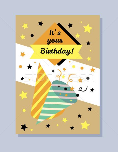 Compleanno cartolina confetti stelle carta decorativo Foto d'archivio © robuart