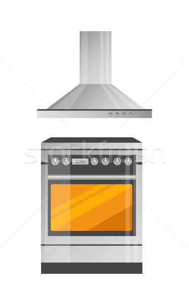 Modern Kitchen Stove with Powerful Hood Above Stock photo © robuart