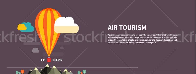 Balão de ar quente voador montanha ícones planejamento Foto stock © robuart