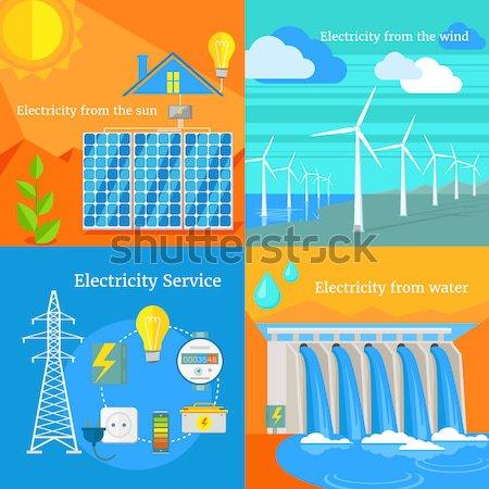 Centrale électrique énergie icônes design électricien équipe Photo stock © robuart