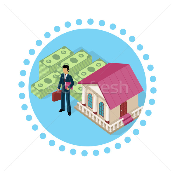 Isometric Icon Businessman Bank Cash Stock photo © robuart