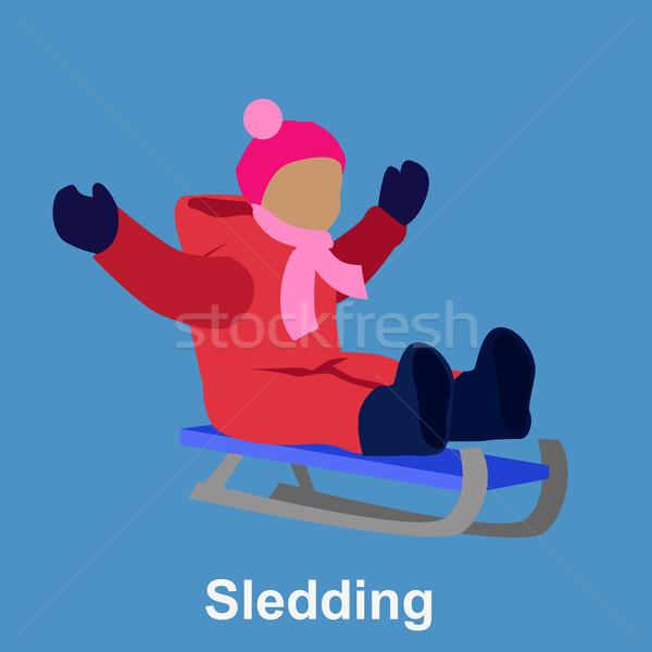 Sledding children design flat style Stock photo © robuart
