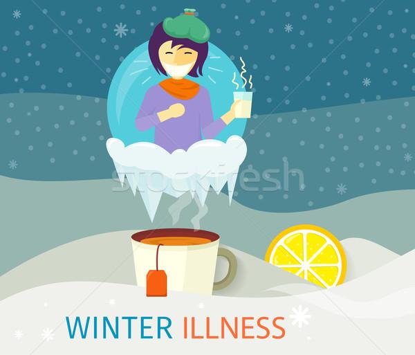 зима болезнь сезон люди дизайна холодно Сток-фото © robuart