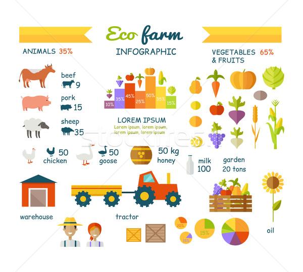 Eco boerderij communie vector ontwerp Stockfoto © robuart