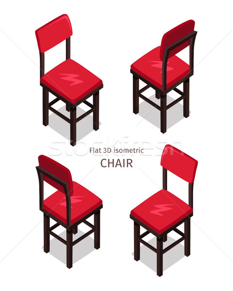 Red Chair Illustration in Isometric Projection Stock photo © robuart