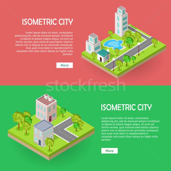 Foto d'archivio: Isometrica · città · edifici · vettore · web