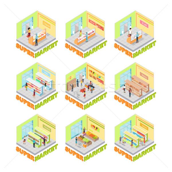 Supermarket Interior Vector Set. Isometric Stock photo © robuart