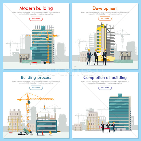 Edifício moderno desenvolvimento edifício processo construção realização Foto stock © robuart