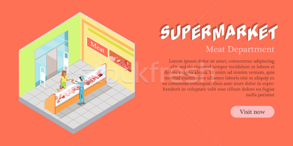 Supermarket Meat Department Banner. Vector Flat Stock photo © robuart