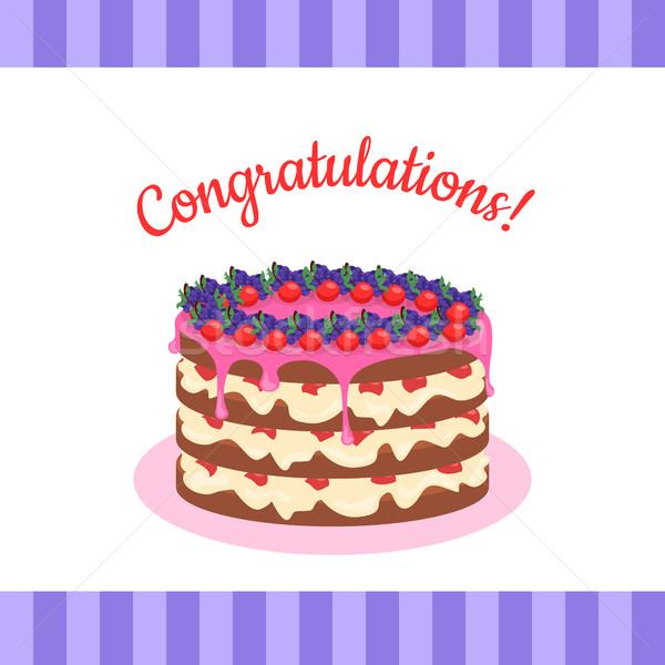 Gratulacje ciasto banner pocztówkę kartkę z życzeniami Zdjęcia stock © robuart