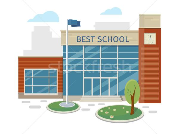 En iyi okul Bina vektör stil dizayn Stok fotoğraf © robuart