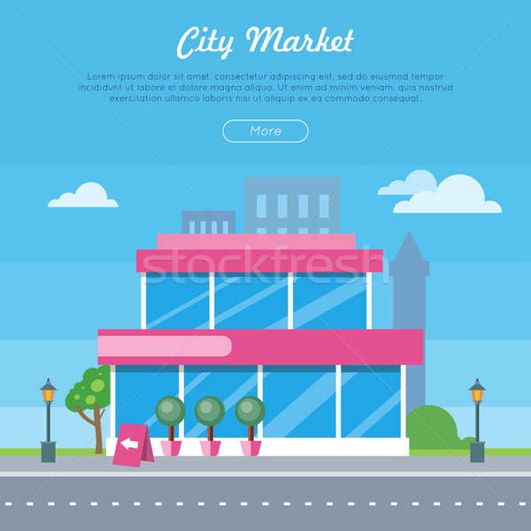 City Market Near Road Banner. Flat Design Style Stock photo © robuart