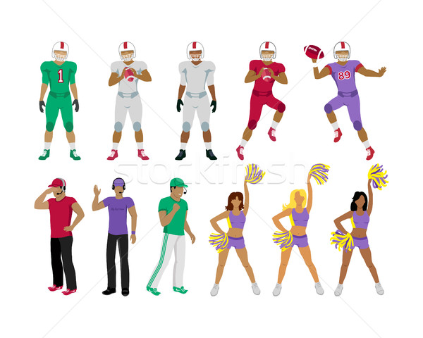 Football Players, Coaches, Cheerleading Girls Stock photo © robuart