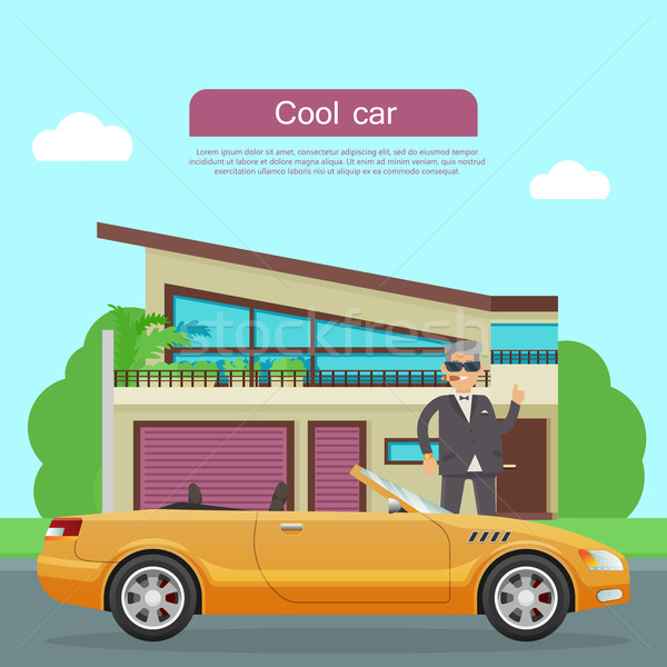 Cool Car Flat Style Vector Web Banner  Stock photo © robuart