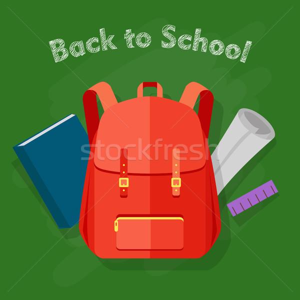 Foto stock: De · volta · à · escola · vermelho · mochila · um · bolso