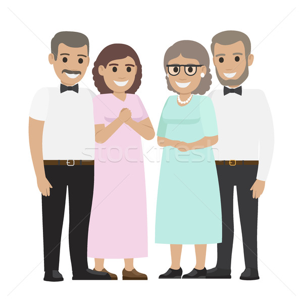 Parents-in-law Flat Vector Illustration Stock photo © robuart