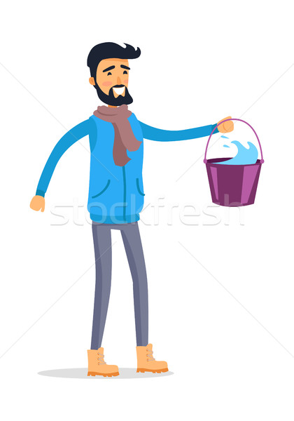 Cartoon Man with Bucket of Water Isolated on White Stock photo © robuart