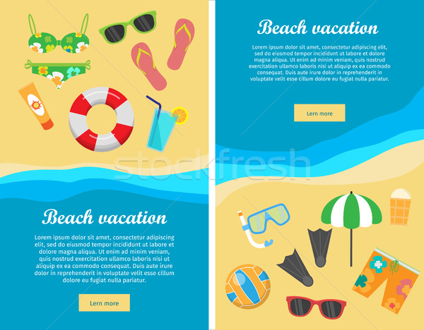 Foto stock: Praia · férias · projeto · vetor · teia · banners