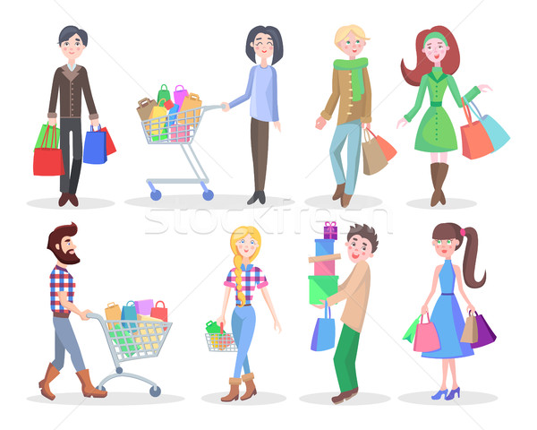 Stock photo: Shopping People Flat Vector Characters Set