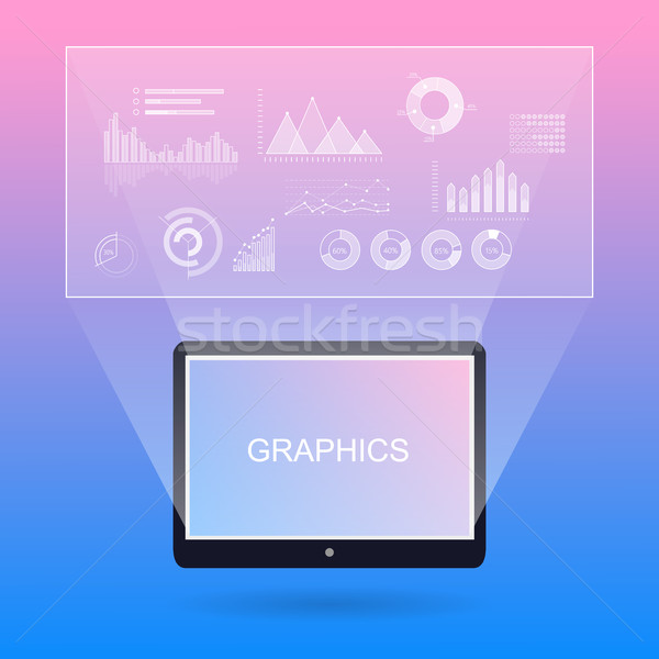 Graphic Diagrams and Tablet with Inscription. Stock photo © robuart
