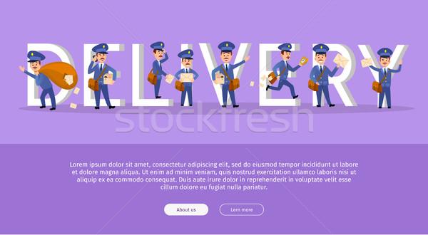 ストックフォト: 配信 · サービス · ウェブ · バナー · 漫画 · 郵便配達員
