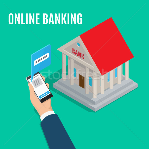 Online Banking Isometric Projection Vector Concept Stock photo © robuart