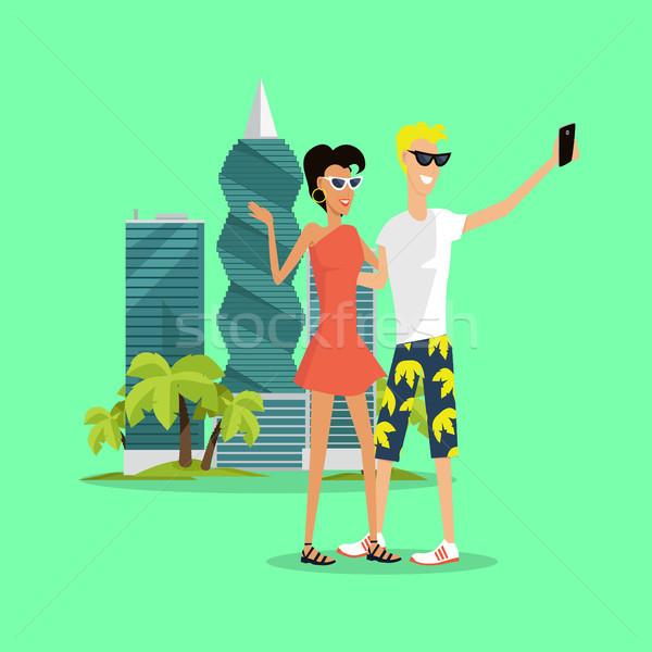 Vakantie vector ontwerp stijl reis jonge Stockfoto © robuart