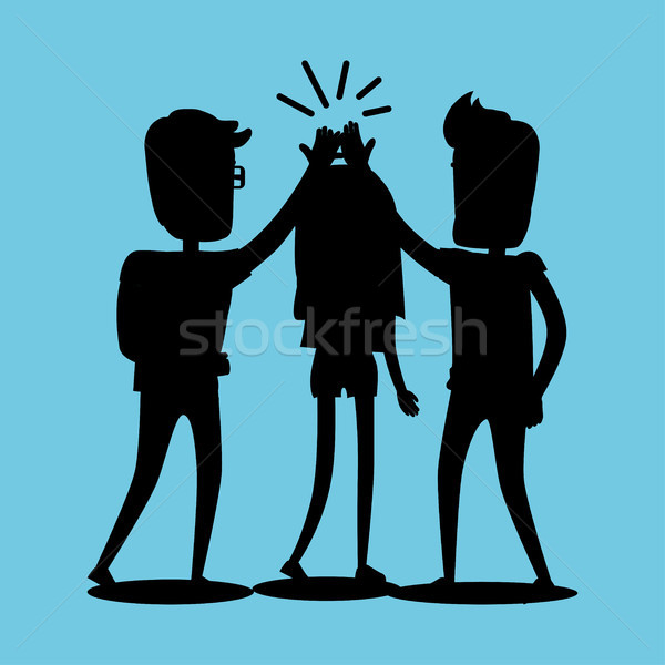 Silhouettes of Guys and Girl Clap Hands Together Stock photo © robuart