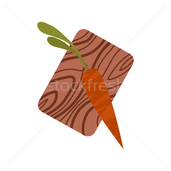 Dark Orange Carrot with Tops on Chopping Board Stock photo © robuart