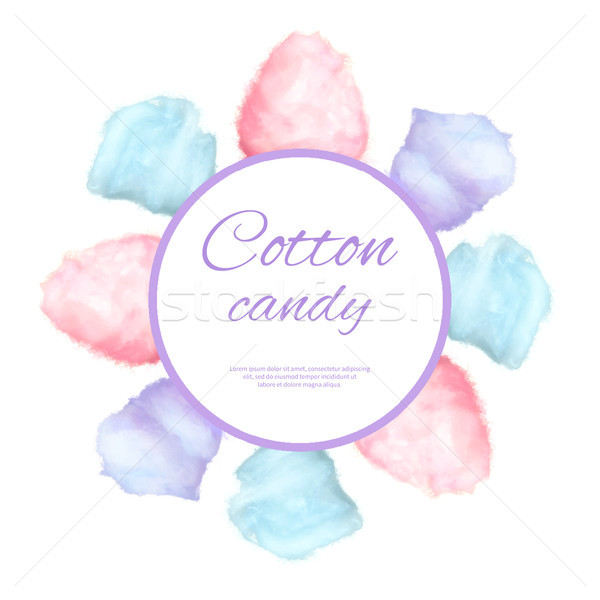 Cotton candy round button surround by sweet sugar Stock photo © robuart