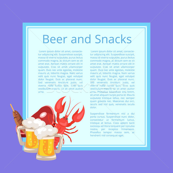 Beer and Snacks Poster with Tasty Refreshment Stock photo © robuart