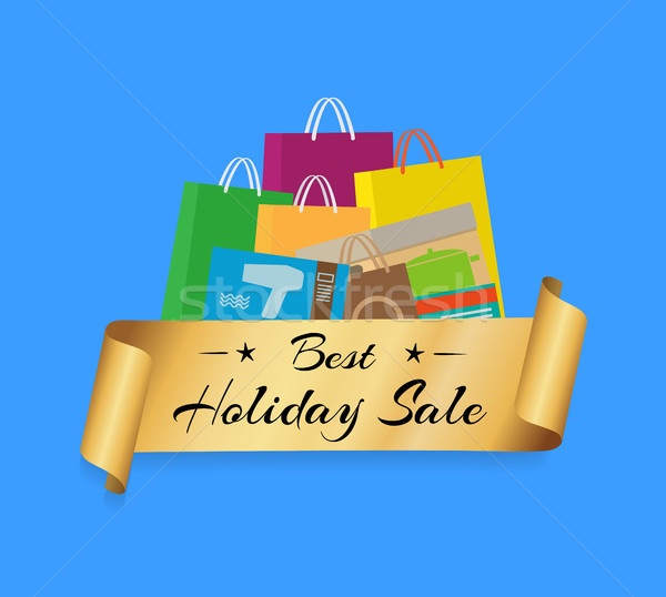 Best Holiday Sale Shopping Bags Color Set Isolated Stock photo © robuart