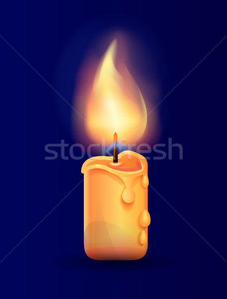 Burning Candle in Realistic Design Vector Icon Stock photo © robuart