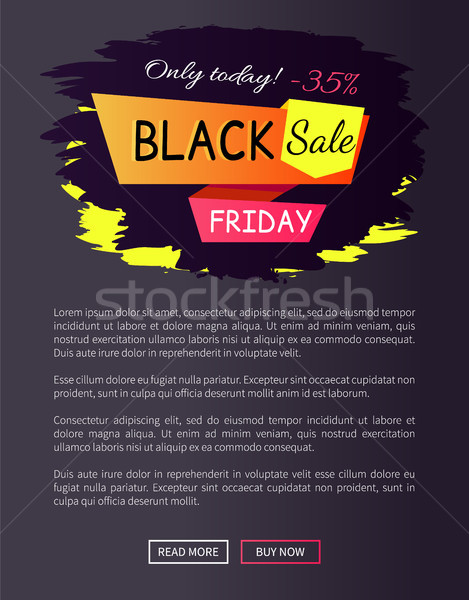 Only Today - 35 off Black Sale Friday Promo Label Stock photo © robuart