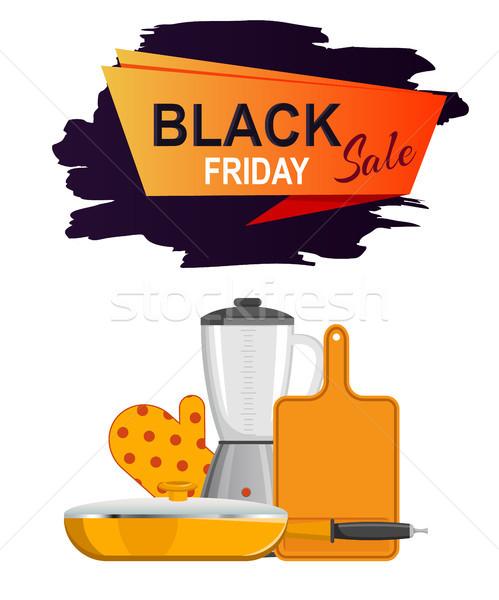 Black friday venda cartaz brilhante utensílios de cozinha branco Foto stock © robuart