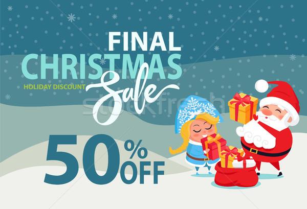Karácsony vásár el promo poszter mikulás Stock fotó © robuart