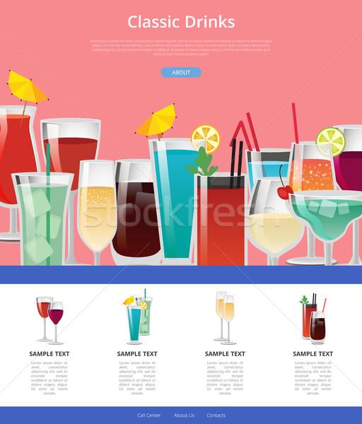 Klasszikus italok háló poszter minták alkohol Stock fotó © robuart