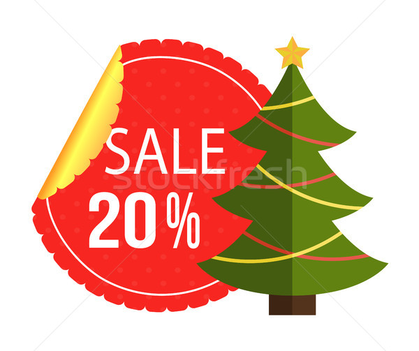 Christmas Best Sale Label Abstract New Year Tree Stock photo © robuart