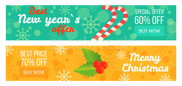 Two Sales Posters Best New Year s Offer 60 Off Stock photo © robuart