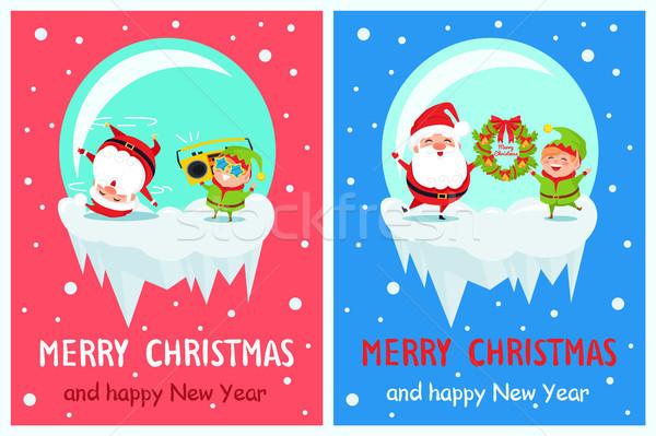 Vidám karácsony boldog új évet poszter manó mikulás Stock fotó © robuart
