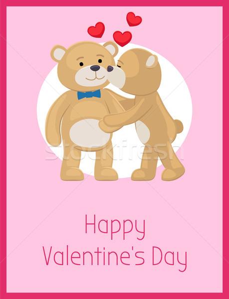 幸せ バレンタインデー ポスター テディベア カップル 女性 ストックフォト © robuart
