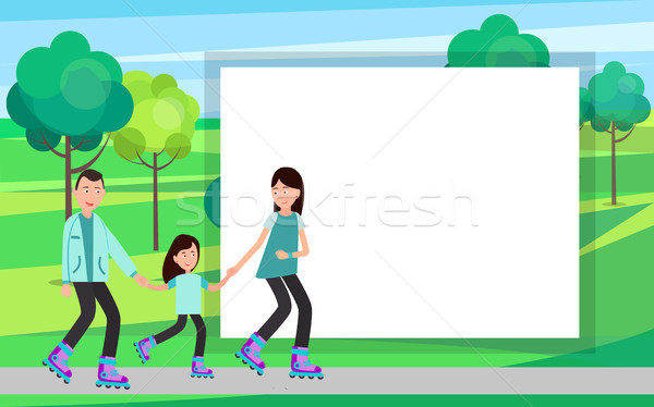 Family Roller Skating Together Vector in Park Stock photo © robuart