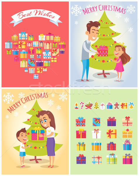 Best Wishes on Christmas Set Vector Illustration Stock photo © robuart