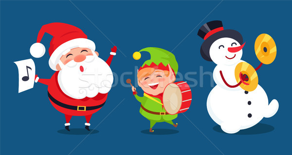 Santa with Music Sign, Elf Playing on Drum Snowman Stock photo © robuart