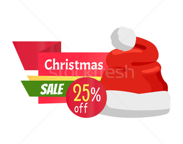 Christmas Sale Promo Label with Santa Claus Hat Stock photo © robuart
