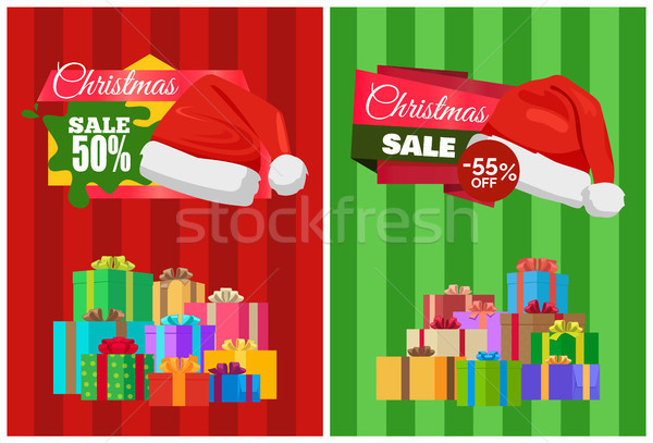 Half Price Christmas Sale Poster Wrapped Presents Stock photo © robuart