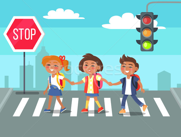 Kids Crossing Road in City Cartoon Illustration Stock photo © robuart